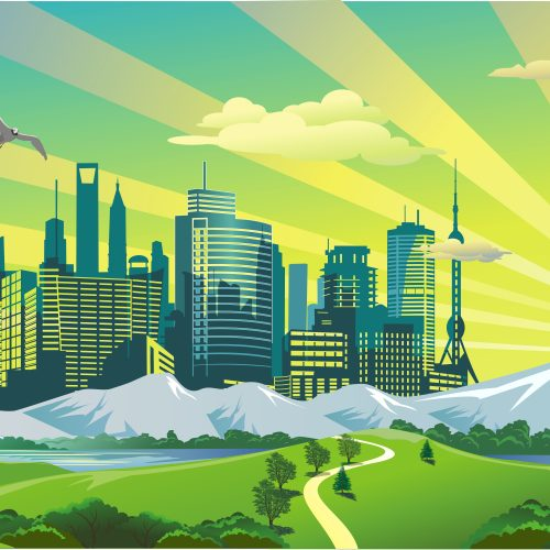 Panorama. Landscape - morning, the view from the hill to the modern city. Vector illustration
